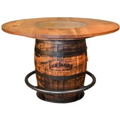 Ruff Sawn Jack Daniel's Barrel Pub Table ($1,986) ❤ liked on Polyvore featuring home, furniture, tables, dining tables, whiskey barrel furniture, whiskey barrel bar table, whiskey barrell table, barrel furniture and whiskey barrel table Whiskey Barrel Table, Whiskey Barrel Furniture, Whiskey Barrels, Deck Table, Fire Pit Table, Grill Table, Handmade Table, Handmade Furniture, Half Barrel Ideas