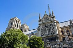 The cathedral Notre-Dame de Paris, the southern facade with a rose window.