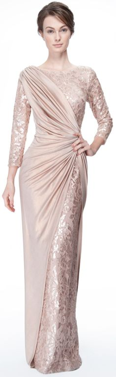 Metallic Jersey and Paillette Embroidered Lace ¾ Sleeve Gown in Rose Water♥✤ | Keep the Glamour | BeStayBeautiful