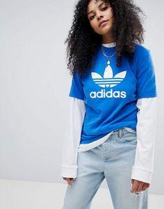 adidas Originals Trefoil Oversized T-Shirt In Blue #adidas #adidasoriginals #sportswear