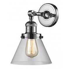 """Found it at AllModern - Chrome/Glass Cone Wall Sconce / $150 / 10"""" H x 8"""" W Size"""