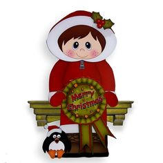 3D On the Shelf Card Kit - Cute Christmas Eskimo Boy with Seasonal Greetings…
