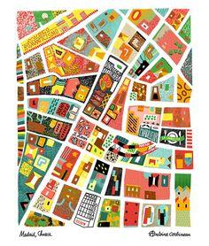 Antoine Corbineau - Illustrated Map of Chueca area of Madrid Travel Illustration, Graphic Design Illustration, Map Quilt, Art Carte, Genius Loci, Country Maps, Mid Century Art, Map Design, City Maps