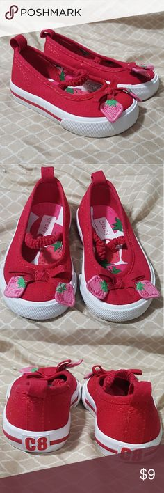 Crazy 8 Strawberry Canvas Shoes 4 Like new besides some spots on bottoms, NO wear! Strawberry themed red canvas shoes by Crazy 8. Elastic across top of foot. Better for a slimmer foot. Size 4  *10% OFF (or more) when you bundle any of my listings! Kids, Mens, and womens! Saves on shipping too! *Tons more on Mercari! No duplicates! Will not bundle between sites. Crazy 8 Shoes Baby & Walker