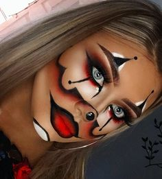 "459 Likes, 15 Comments - ✨LEAH BRAMWELL - MAKEUP ARTIST (@leahbrammakeup) on Instagram: "" GANGSTER CLOWN  Of course my favourite red lip ever @jordanaticiacosmetics 'PAINT THE TOWN…"""