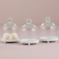 Miniature Glass Bell Jar with White Fluted Base - The Knot Shop