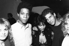 From left: Cathy St. George (Playmate), artist Jean-Michel Basquiat, Apollonia Kotero (actress, Purple Rain), me, and Pamela Wilson (a friend/former legal secretary at my brother's Beverly Hills law firm, who introduced me to AK and managed her press week in NYC, including a Letterman appearance at NBC). Fall 1984, at the club Area, in NYC. (Photo: Ben Buchanan)