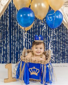 Baby Boy First Birthday Party Crown in Royal Blue and Gold Prince Theme Cake Smash Photo Prop Hat Prince Birthday Theme, First Birthday Outfits Boy, Boys 1st Birthday Cake, Boys First Birthday Party Ideas, 1st Birthday Photoshoot, First Birthday Party Decorations, Mickey Birthday, Diy Birthday Banner, Boy Birthday Parties