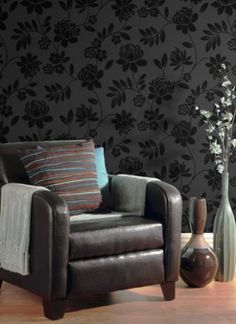 Genuine Flock Wallpaper Kristen  - Black - 99005 Genuine flock wallpaper/Contemporary floral trail design/Appealing design in matt charcoal with black flock/Coordinates well with modern furnishings and accessories/Suitable for all areas except high steam/High quality finish £39.99 per roll Flock Wallpaper, Flocking, Contemporary, Modern, Accent Chairs, Charcoal, Trail, It Is Finished, Floral