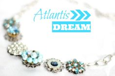 Atlantis Dream / Hattitude Jewellery $62.00 one of a kind made using vintage brooches and earrings www.GotHattitude.com perfect for a bridesmaid necklace