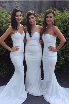 Beautiful Long Sweetheart White Beading Lace Prom Dresses Bridesmaid Dresses Z1392