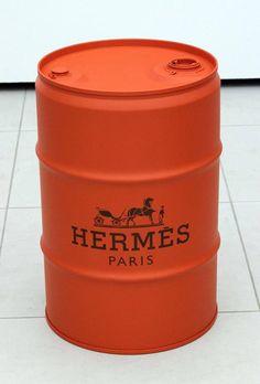 Barril Decorativo Hermès - #rebecaguerra #hermès #lata #decoração #barril