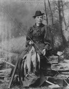 """Cornelia """"Fly Rod"""" Crosby, 1854-1946. Held the first Maine Guide license to be issued, and reportedly caught 200 trout in a single day."""