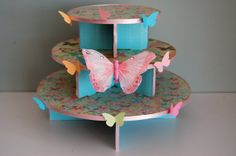Butterfly Cupcake Stand for Birthday Baby Shower by NuLuDesigns, $39.95