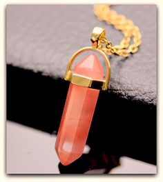 "Beautiful Natural Gemstone Stone Pendant Necklace with 20 Stone Colors "" Free Shipping """