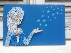 Handmade String Art Sign, Elsa From the animation movie Frozen
