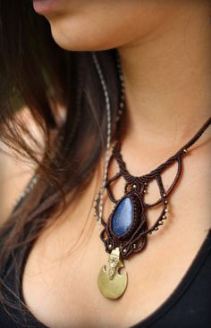 Lapis Lazuli Macrame Necklace Brass Pendant by MahadevaCraft