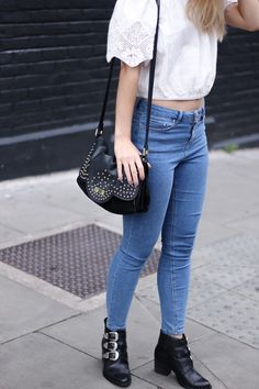 Denim rocks with the Betty x Lancaster shoulder bag! (Pic from 101 Things Girls Like) #lancasterparis #lancaster #bag #bettyautier #streetstyle #denim #jeans #rock #black #spikes #boots #lace #white #bettyxlancaster