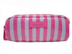 Victoria's Secret Sequins Pink White Striped Cosmetic Mak...