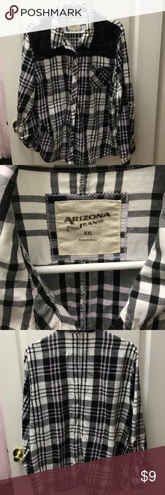 Flannel shirt Arizona JR size XXL perfect shape This rarely worn black, white and a hint of lavender flannel also has a nice lace top of shirt Arizona Jean Company Tops Button Down Shirts