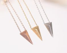 Cute and tiny Chevron triangle charm, arrowhead charm necklace, Choose your color. DoublebJewelry. Double B. DoubleB.
