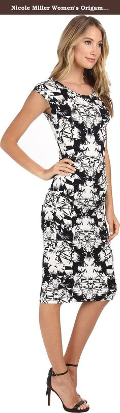 Nicole Miller Women's Origami Jersey Midi Dress Black/White Dress PT (US 0-2). Midi length body con dress features a kaleidoscope pattern throughout. Round neckline with cap sleeves. Cutout accentuates the low back. Slip-on style; no closure. Straight hemline. Unlined. 95% rayon, 5% spandex. Dry clean only.