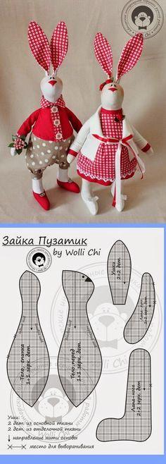 ARTE COM QUIANE - Paps,Moldes,E.V.A,Feltro,Costuras,Fofuchas 3D: Molde novo de coelho para artesanato