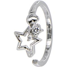 Sterling Silver 925 Cubic Zirconia STAR Toe Ring | Body Candy Body Jewelry