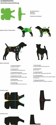 Schnittmuster - Mantel - My list of the most creative animals Dog Clothes Patterns, Coat Patterns, Sewing Patterns, Small Dog Clothes, Pet Clothes, Animals Crossing, Dog Coat Pattern, Dog Jacket, Dog Sweaters