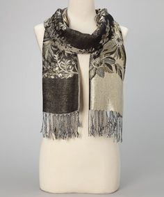Take a look at this Black & Gray Floral Fringe Pashmina-Silk Blend Scarf by Italmode on #zulily today!