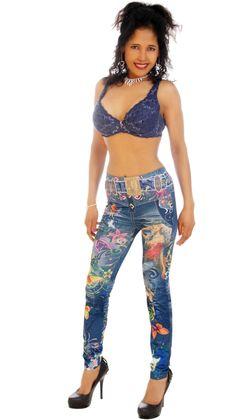 Sexy, Skin-tight Leggings, Jeans Style, Flower Power #thesexiestlingerie, #leggings, #tightpants