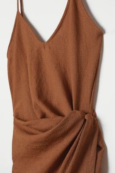 Draped Wrap-front Dress - Dark camel - Ladies | H&M US 2 Wrap Front Dress, Wrap Dress, Summer Outfits, Casual Outfits, Fashion Outfits, Calf Length Dress, Pretty Outfits, Cute Dresses, Fashion Online