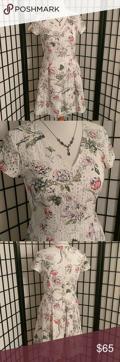 Floral Dress Absolutely Stunning White Floral Eyelet Dress. Short Sleeve, Flattering A-Line Silhouette with V-Neck, Zipper Back to just below waist. Ann Taylor Dresses Asymmetrical