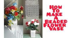 HOW TO MAKE A FLOWER VASE/BEADED FLOWER VASE TUTORIAL/FLOWER POT/DIY BEA... Flower Vases, Flower Pots, Make Your Own, How To Make, Beaded Bags, Beaded Flowers, Bead Crafts, Hand Bags, Beautiful Flowers