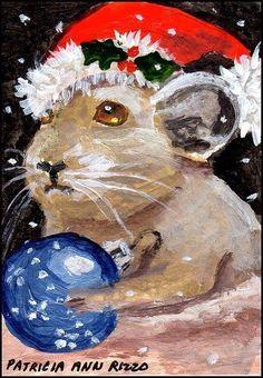 Original ACEO Lil Pika- not mouse- Santa Claus Christmas Hat- Patricia Ann Rizzo #Miniature