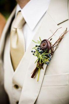 Red Modern Chicago Wedding - Brown,  Rustic Wedding Flowers Decor,  Boutonnières