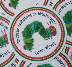 The Very Hungry Caterpillar | The Very Hungry Caterpillar Party Favor Tags- Bookplates also ...