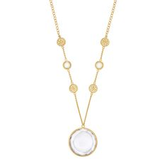 Gold plated moonstone and crystal circle pendant necklace from the Anna Beck Moonstone & Crystal Collection