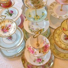 @Lindsey Beyer, @Rebecca Martens, @Jody VanDyck & @Mary Meyers should we buy these so we can eat classy all the time?!? High Tea for Alice CUSTOM 3 Tier Tea & Cupcake Stand of Vintage China to Match Wedding Colors, Party or Home Decor Scheme. $225.00, via Etsy.
