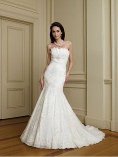 Sirène sans bretelles robe de mariée en organza