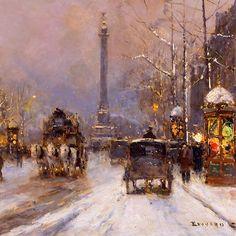 Edouard Leon Cortes (1882-1969), Place de la Bastille