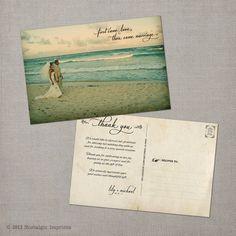 Lily Vintage Wedding Postcard Thank You by NostalgicImprints