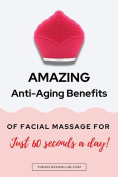 Daily Facial Massage for 1 minute a day can greatly improve your skin. Click the pin to learn how facial massage reduces wrinkles, tones your face, gets rid of under eye dark circles and puffiness, and increases hydration and elasticity. Plus get the 7 best facial massage rollers, skin care devices and tools. #beautygadgets #skincaretools #guashatools #getridofwrinkles #detoxfacialmassage