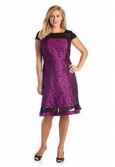 Adrianna Papell Plus Size Floral Jacquard Fit and Flare Dress
