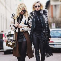 The beautiful @peaceloveshea and @carolinevreeland spotted around the city during the last #MFW both wearing #JustCavalliFW15 jackets. Photo by @theurbanspotter #CavalliCrew