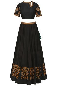 Black embroidered lehenga set available only at Pernia's Pop Up Shop.