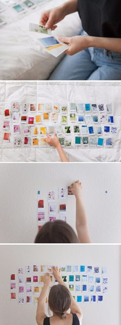 It would be awesome to do this with bigger prints,, one in each color. Small Space Interior Design, Interior Design Living Room, My New Room, My Room, Diy Craft Projects, Fun Crafts, Pinterest Room Decor, Polaroid Wall, Bedroom Decor