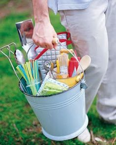 Grill Gift Basket - grill mitt - tongs - fork - mixing spoon - package of straws - basting brush - squeeze bottle - etc.