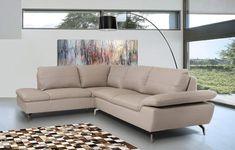 VIG Furniture - Divani Casa Peony - Modern Grey Leather Sectional Sofa - VGKK1831-LTGRY #LeatherSectionalSofas
