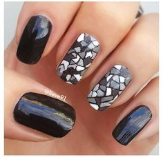 Black gray and white mosaic nail art. Perfect for winter